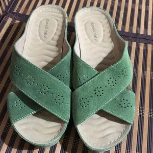 David Tate Suede Leather Green Wedge Sandals New